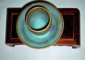 A Rare Song Dynasty Junyao Sky Blue Glazed Wine Cup With A Rosy Splash