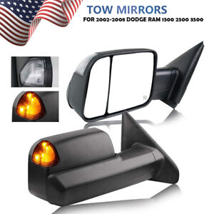 2p For 2002 2008 Dodge Ram 1500 03 09 2500 3500 Tow Mirrors Power Heated Signal