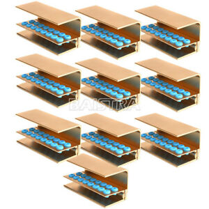 10 X Dental Fg Ra Burs Holder Block 16 Holes With Cover Autoclavable Golden