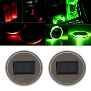 Universal Solar Energy Cup Holder Pad Led Atmosphere Light Trim Green red