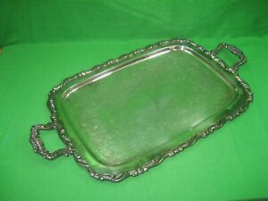 Vintage Intricate Silver Plated Etched Oneida Serving Platter Tray 24 Long
