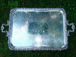 Antique Barker Ellis England Lg 27 Silverplate Butler Tray Chased Floral Design
