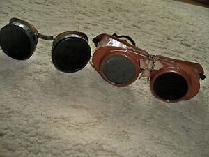 Lot Of 2 Vintage Welch Welding Goggles Safety Glasses Eyewear Tinted Lense