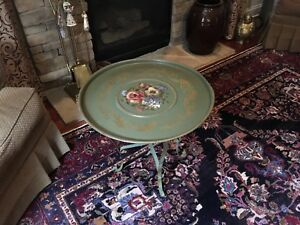 Antique Hand Painted Floral Tole Tray W Folding Metal Table Stand Nashco Usa