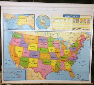 Nystrom World Us Pull Down Classroom Map 2 Maps 1ns991