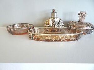 Antique Art Deco Heavy Silver Pink Glass Dresser Set Perfume Covered Box Vanity