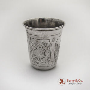 Large Engraved Vodka Cup Russian 84 Standard Silver 1880 Moscow