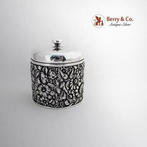 Floral Repousse Dresser Jar Dominick And Haff Sterling Silver 1892