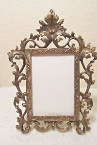 Vintage Large Victorian Brass Easel Table Top Or Hang Picture Photo Frame