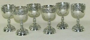 6 Vintage Sanborns Mexican Sterling Silver Cordial Cups Aztec Rose Nice Set