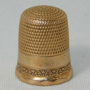 Atq Stern Bros Goldsmith Repousse Diamond Ornate 10k Gold Thimble
