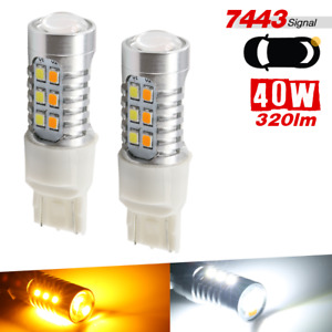 7443 Dual Color 22 Smd Led Switchback White Yellow Front Turn Signal Light Bulbs