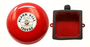 Fire Alarm Bell 6 120 Vac With Waterproof Backing Enclosure Security Alarm