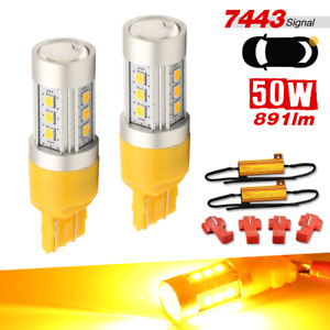 2x 7443 Led Amber Yellow Drl Front Turn Signal Parking Lights Bulbs Resistors