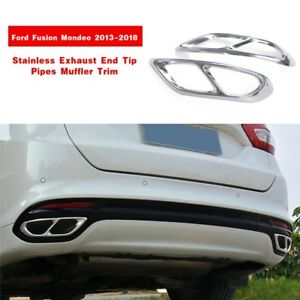 Stainless Exhaust End Tip Pipes Muffler Trim For Ford Fusion Mondeo 2013 2018