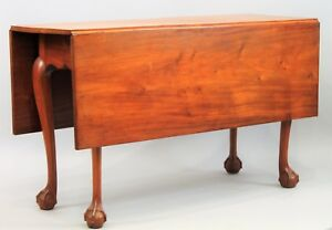 Chippendale Mahogany D L Table Ball And Claw Feet Shaped Skirt Salem Ma