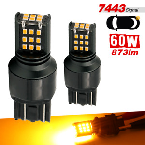 7443 Amber Yellow Led Bulbs Hi Power 873lm Rear Turn Signal Parking Drl Light