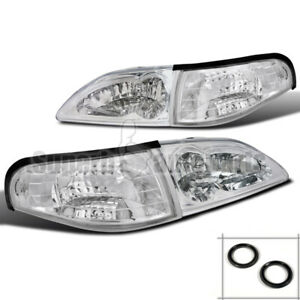 1994 1998 Ford Mustang Headlight W Clear Reflector Corner Signal Lamps Chrome