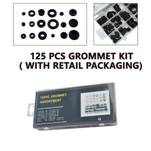 125pcs Black Rubber Grommet Assortment Firewall Hole Plug Electrical Wire Gasket