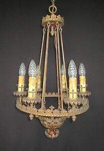 Large Spanish Revival Chandelier C 1920s Rewired Tudor Gothic Brass Antique