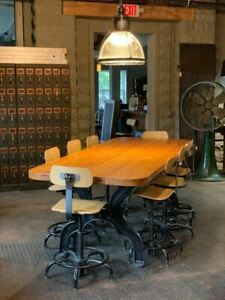 Industrial Cast Iron Leg Table W 8 Stools Re Purposed