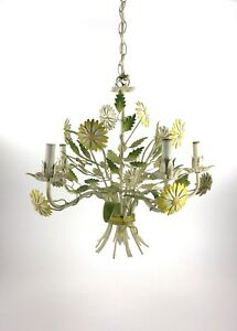 Vintage Tole Painted Metal Flower Shabby Chic Hanging Chandelier Light