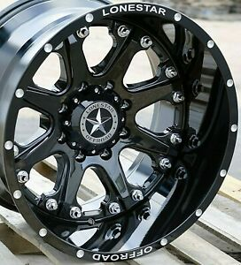 20 Gloss Black Lonestar Bandit Wheels 20x12 8x180 44 Chevy 2500 3500 Hd Truck
