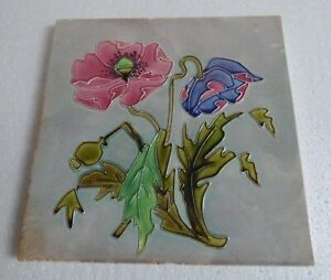 Great Poppy Art Nouveau Tile Jugendstil Coquelicot Tublined Rare Carreau French
