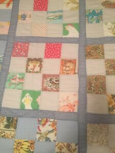Vintage Homemade Quilt Size 86x68 All Handstitched Multi Color