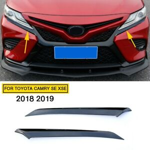 Steel Car Parts Black Head Light Eyelid Trim For Toyota Camry Se Xse 2018 2019