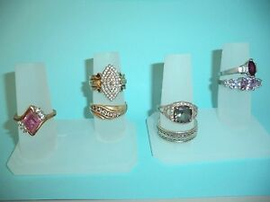 Polystyrene 2 Finger Ring Display Frosted Jewelry 3 Piece Lot