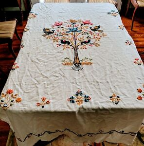 Vintage Linen Bedspread Hand Embroidered For Double Bed