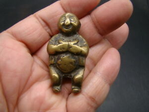 Chinese Ming Dynasty 1368 1644 Period Bronze Pendant Of Boy Holding Money T3157