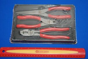 New Snap On Red Vinyl Grip 3 Piece Pliers Cutters Set Plr300 Ships Free