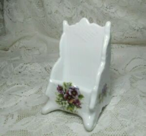 White Tall Ceramic Business Desk Top Card Holder With Purple Flower