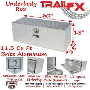 190601 Trailfx 60 Polished Aluminum Underbed Truck Trailer Tool Box