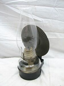 Antique Wall Sconce Tin Fluid Lamp Lantern W Reflector Primitive