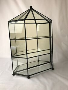 Black Glass Mirrored Display Curio Cabinet Case Table Top Open Front 15 5 H