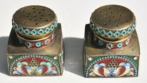 Russian Royal Imperial 84 Silver Enamel Salt Pepper Holder Spoon Kovsh Ladle Cap