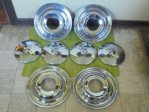 49 50 Ford Accessory Trim Beauty Rings 15 Dog Dish Hubcaps Set Of 8 1949 1950