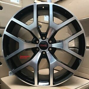 26 Inch Black Machine Sierra Wheels With Tires Tahoe Gmc Yukon Suburban Rims
