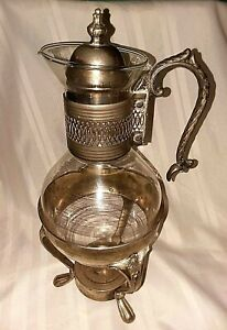 Vintage Silver Plate Glass Coffee Tea Carafe Pitcher W Footed Warmer Stand