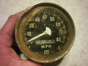 Vintage Stewart Warner Black And White Face Speedometer Gauge Hot Rat Rod Gasser