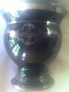 Sterling Silver Overlay On Black Amethyst Czech Glass Vase Rockwell