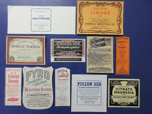 11 Old Large Pharmacy Apothecary Medicine Bottle Labels Ephemera Nice Selection