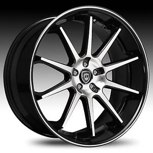 22 Lexani Wheels R 10 Stagger Black Rims Tires Fit Bmw 745 750 Challenger S550