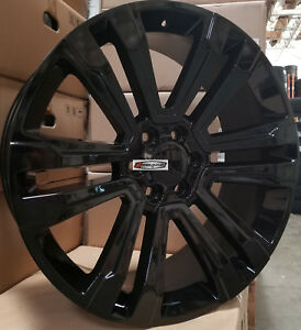 24 Gmc Replica Rims Black 2018 Style Wheels Tires Fit Tahoe Sierra Yukon 26