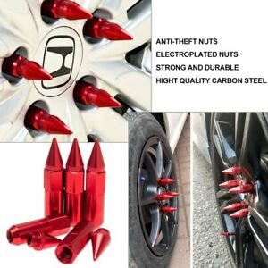 20x Red M12x1 5 Jdm Extended Tuner Aluminum 60mm Wheels Rims Lug Nuts With Spike