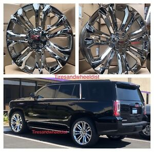 24 Gmc Sierra Chrome Rims Tires Denali Chevy Silverado Tahoe Wheels Avalanche