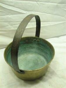 Vintage Hand Wrought Forged Colonial Solid Brass Fire Bucket Tool Kettle Pot E